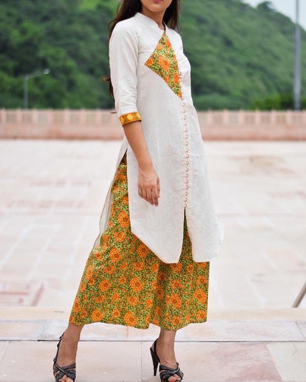 Block printed kurta culottes set 1
