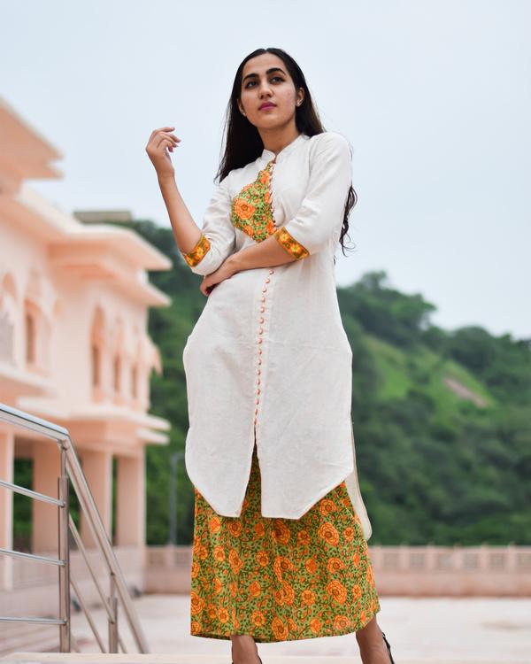 Block printed kurta culottes set 2