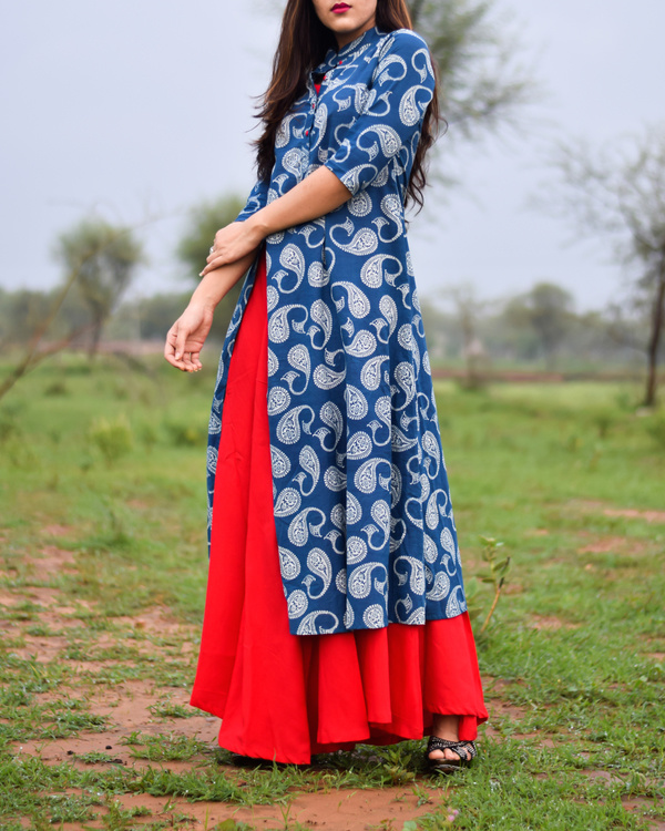 Blue & red printed rayon double layered dress 1