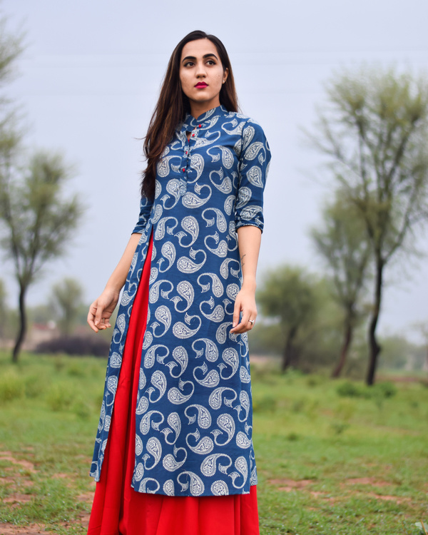 Blue & red printed rayon double layered dress 2