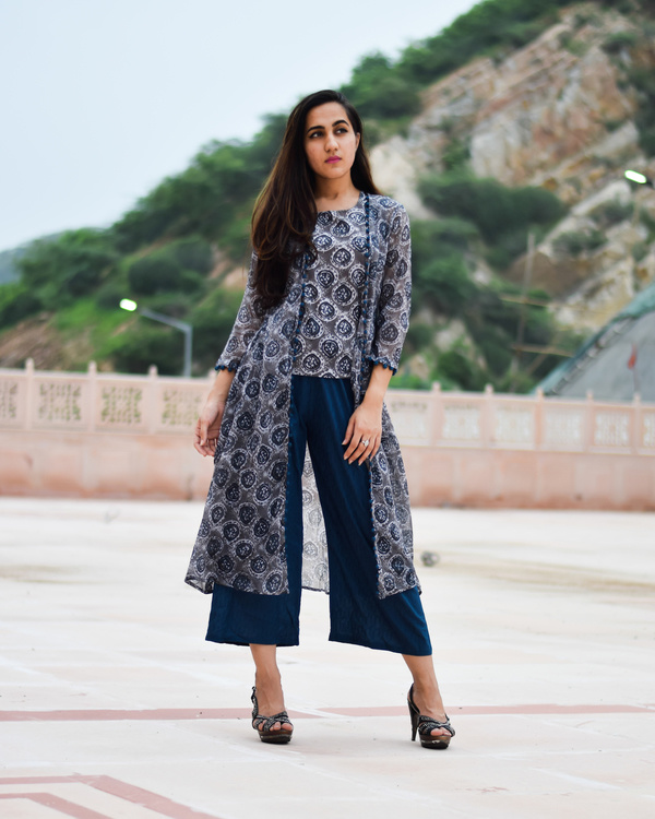 Prussian blue block printed dress 2