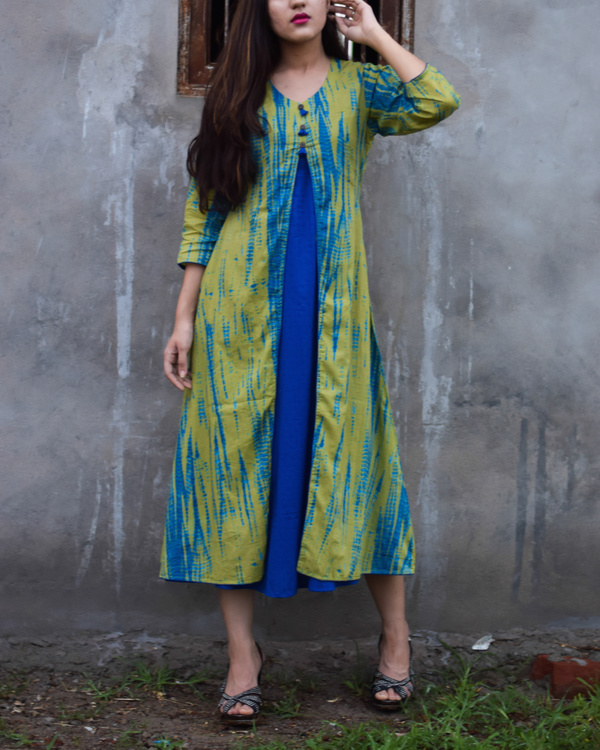 Green and blue tie and dye double layered dress 1