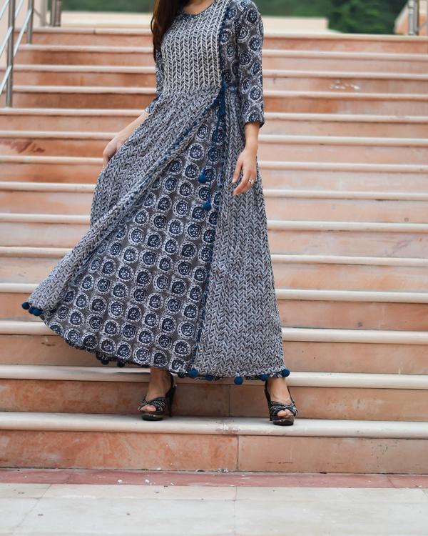 Prussian blue block printed print on print dress 2