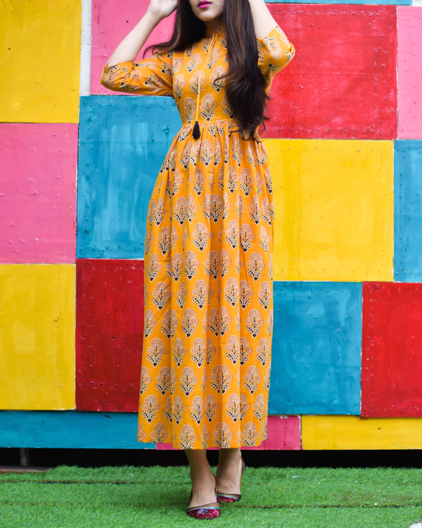 Yellow majestic floral printed long dress 1