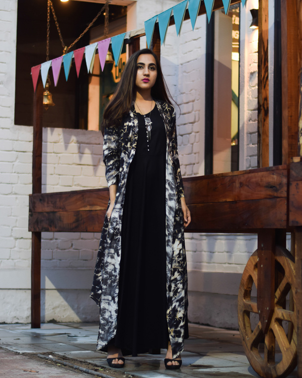 Black galaxy rayon cape dress 2