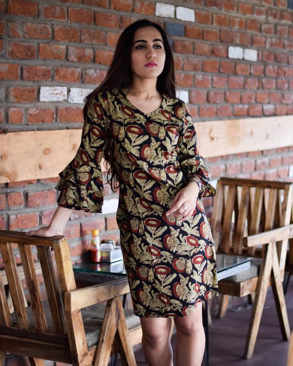 Brown florid bell sleeves short dress 1