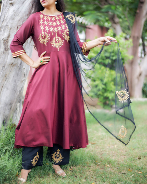 Maroon chandbala set 3