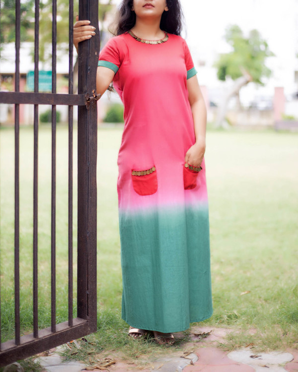 Pink and green pocket dress 1