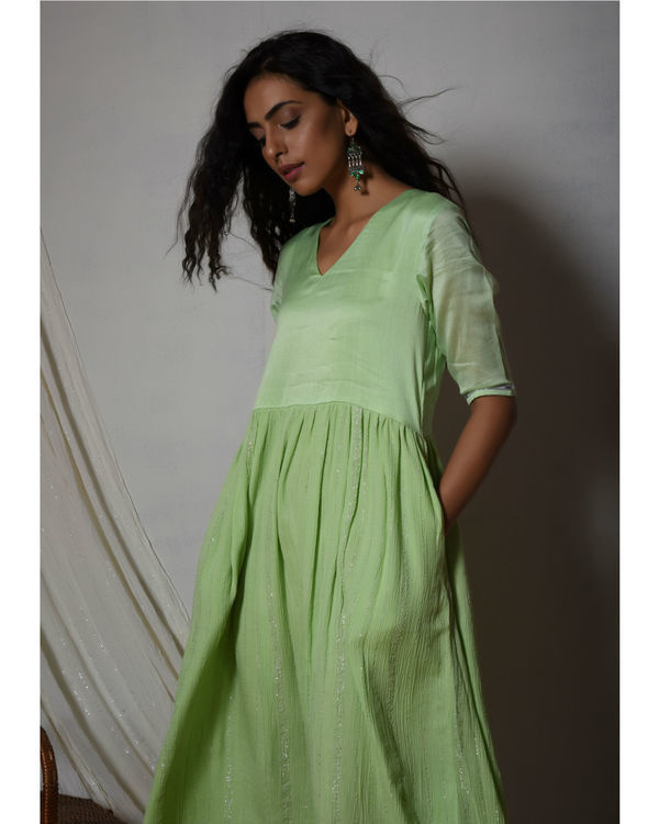 Mint green crinkled flare kurta dress 1