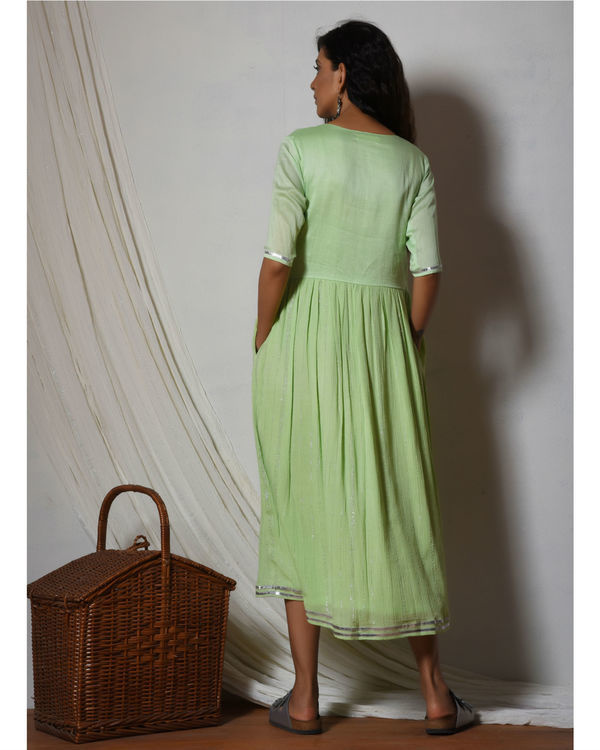 Mint green crinkled flare kurta dress 2
