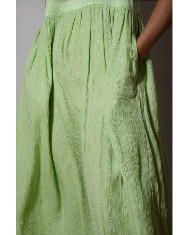 Mint green crinkled flare kurta dress 3