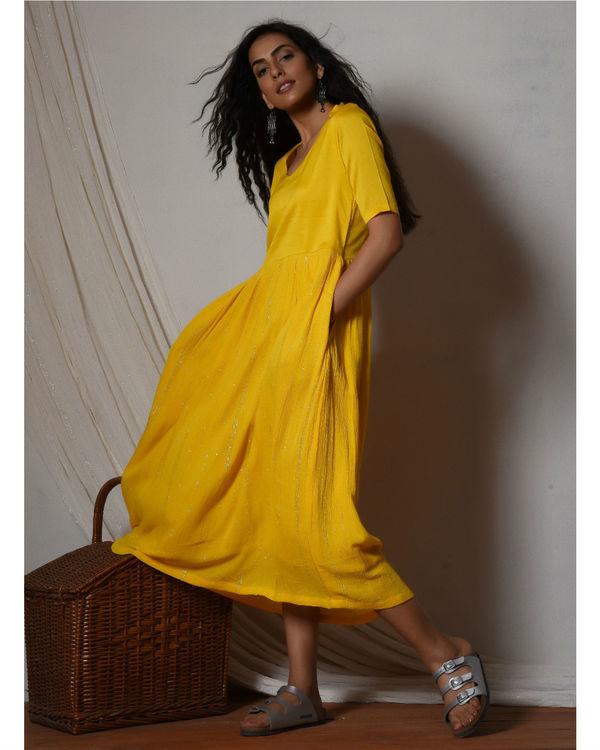 Yellow crinkled flare kurta dress 2