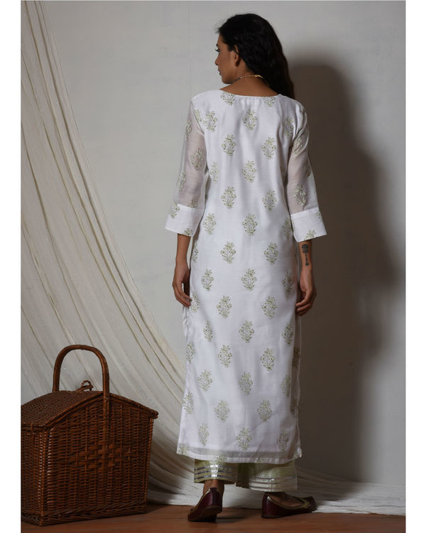 Floral white kurta with mint green stripe silk farshi pant 1