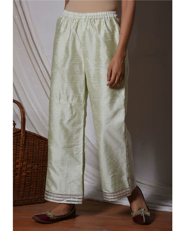 Floral white kurta with mint green stripe silk farshi pant 3