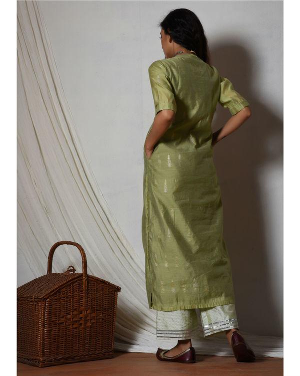 Green chanderi kurta with mint green stripe silk farshi pant 1