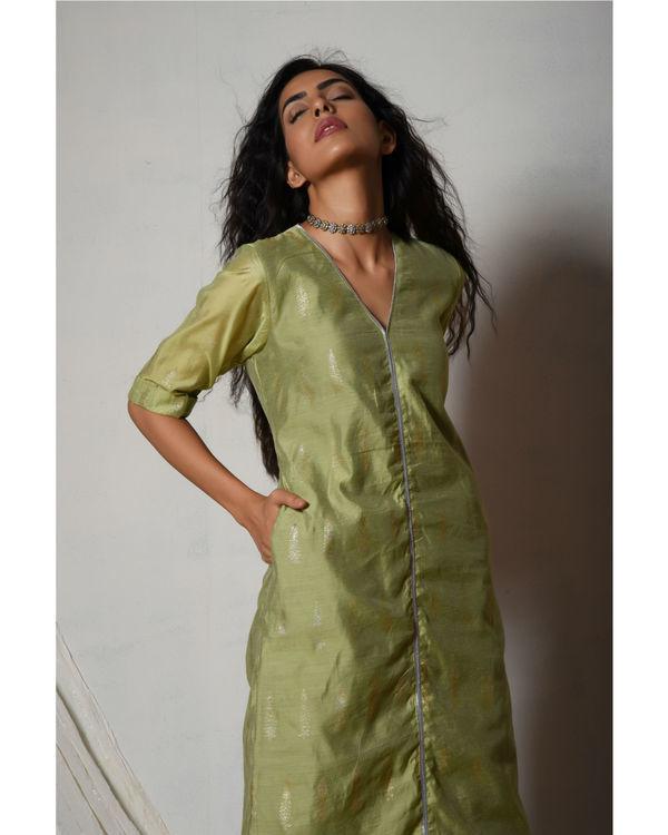 Green chanderi kurta with mint green stripe silk farshi pant 2