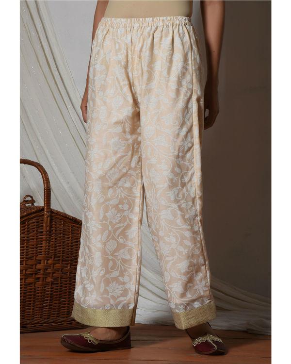Ivory chanderi kurta with beige floral farshi pant 2