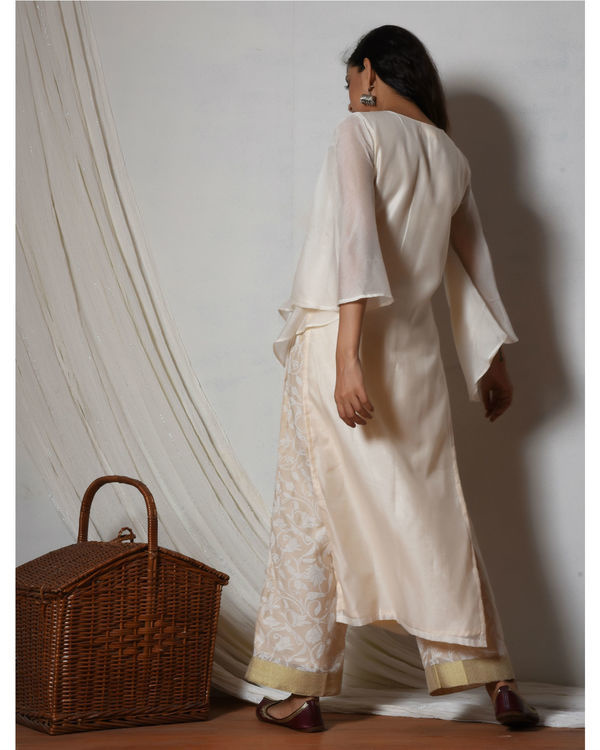 Ivory chanderi kurta with beige floral farshi pant 3