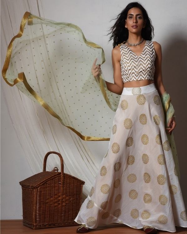White gold block print lehenga set 2