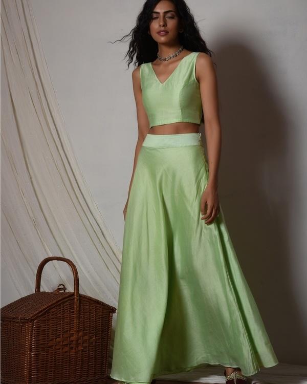 Mint green chanderi lehenga set 3