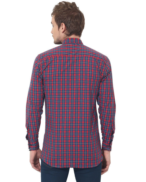 Red & blue checks casual shirt 1