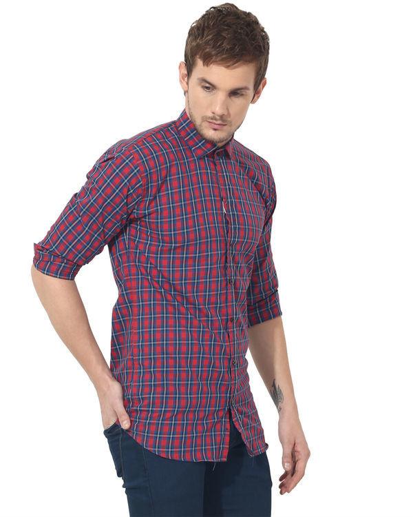 Red & blue checks casual shirt 3