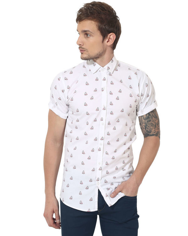 White boat printed casual shirt 2