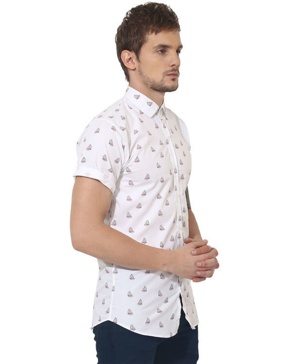 White boat printed casual shirt 3