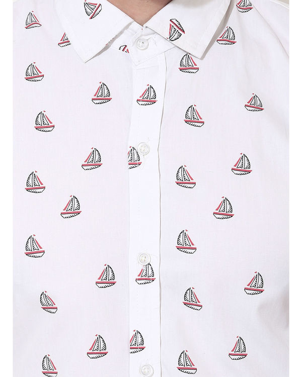 White boat printed casual shirt 4