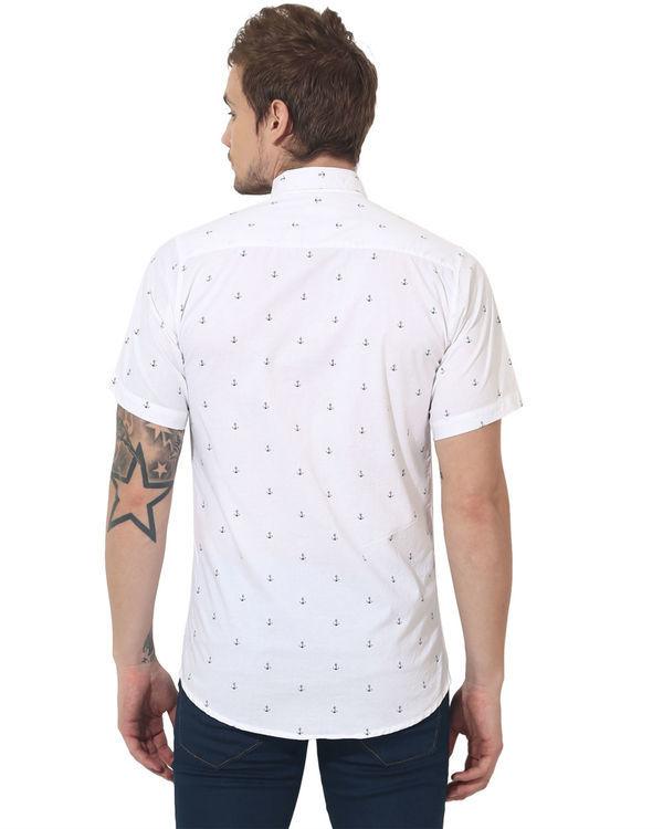 White anchor printed casual shirt 1