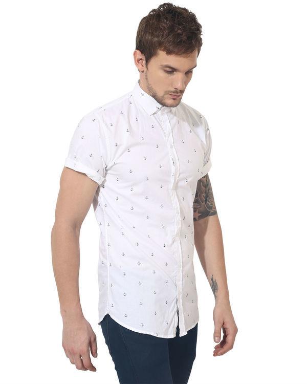 White anchor printed casual shirt 2