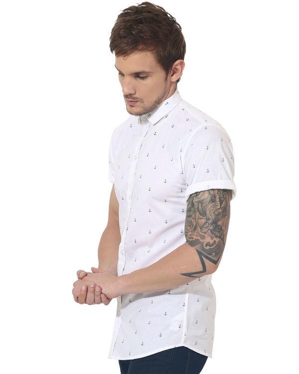 White anchor printed casual shirt 3