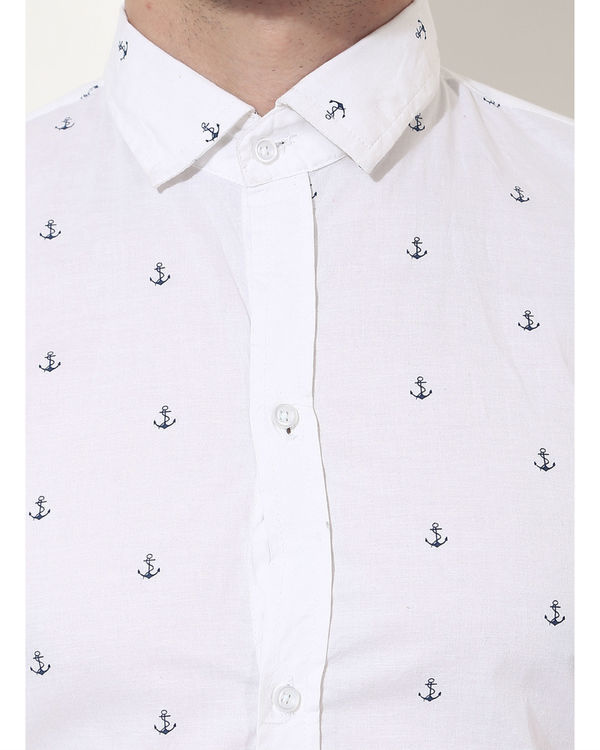 White anchor printed casual shirt 4