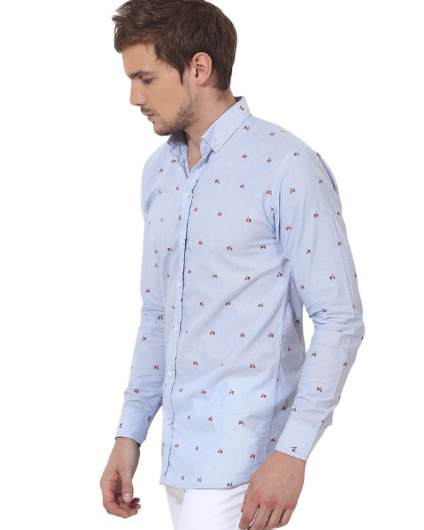 Sky blue scooter printed casual shirt 2