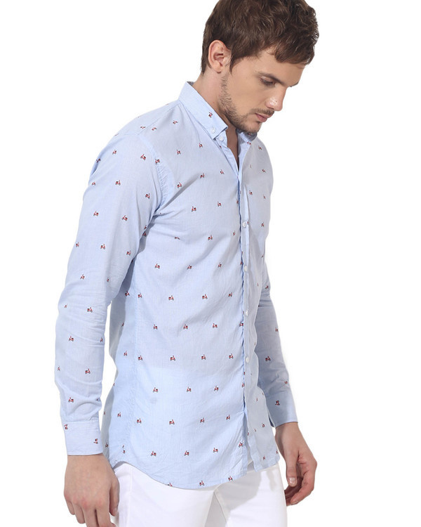 Sky blue scooter printed casual shirt 3