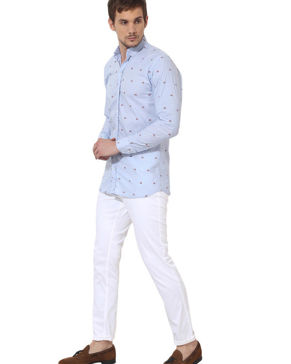Sky blue scooter printed casual shirt 4