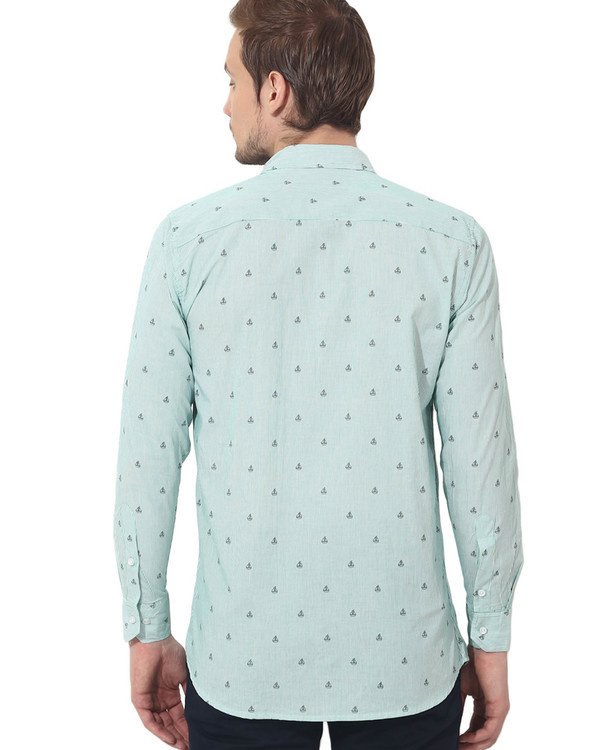 Green boat printed casual shirt 1