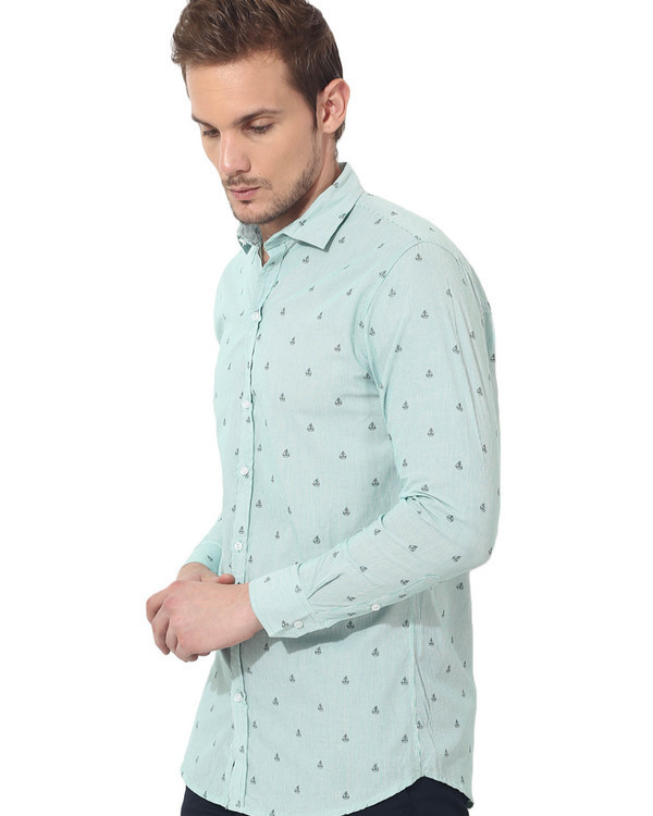 Green boat printed casual shirt 2