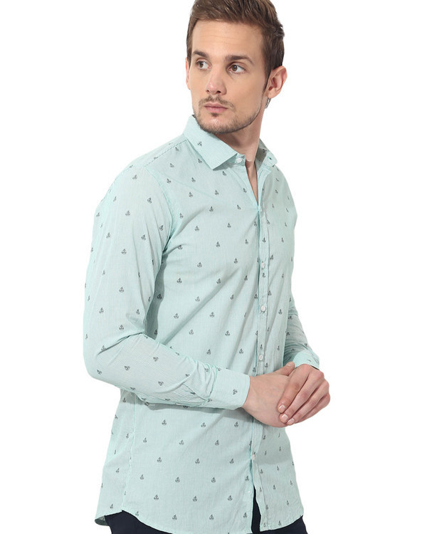 Green boat printed casual shirt 3