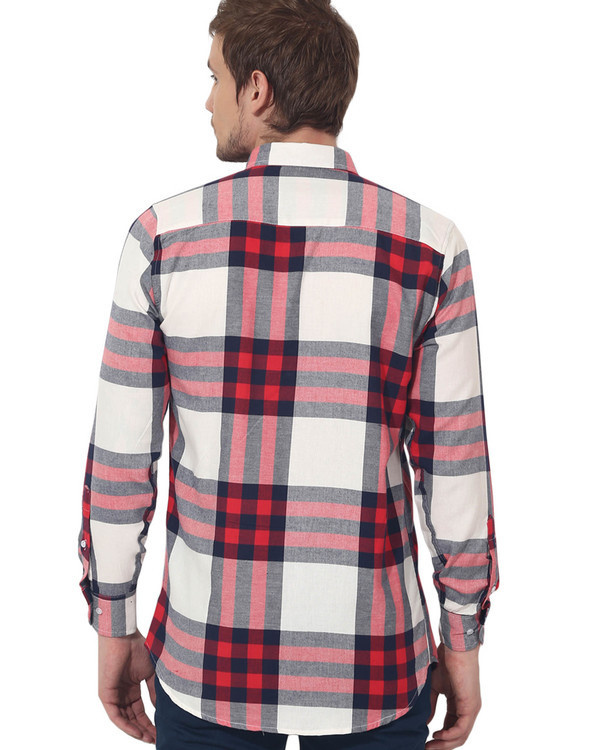 Red & white checks casual shirt 1