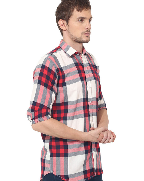 Red & white checks casual shirt 2