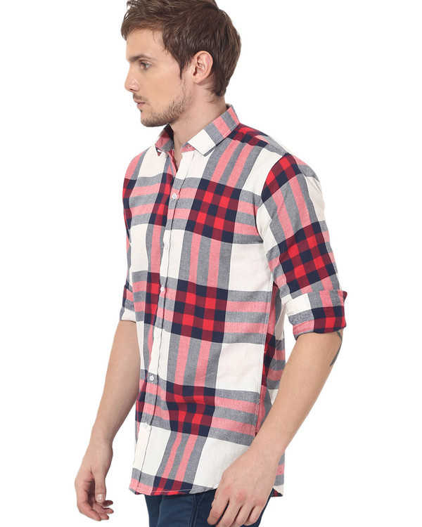 Red & white checks casual shirt 3