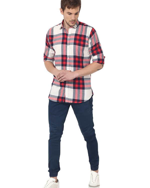 Red & white checks casual shirt 4