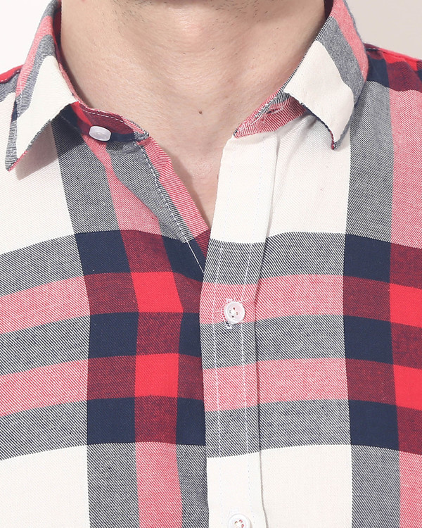 Red & white checks casual shirt 5