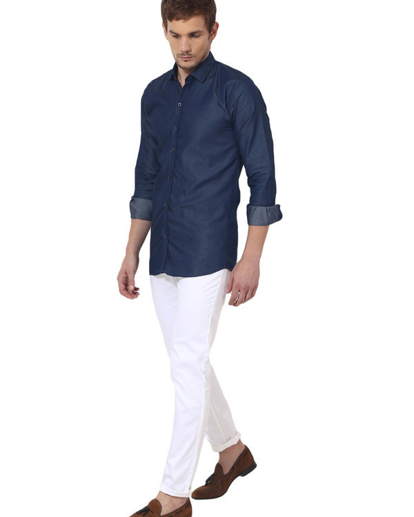 Blue denim solid casual shirt 4
