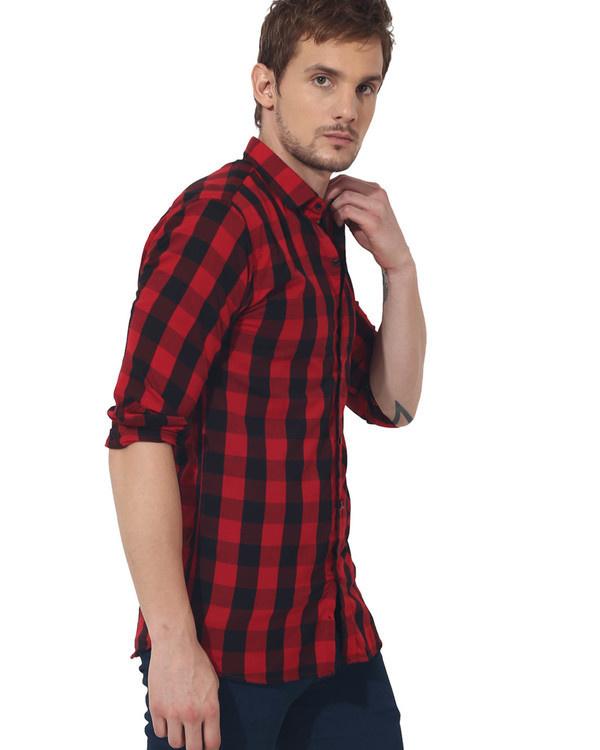 Red & black checks casual shirt 1
