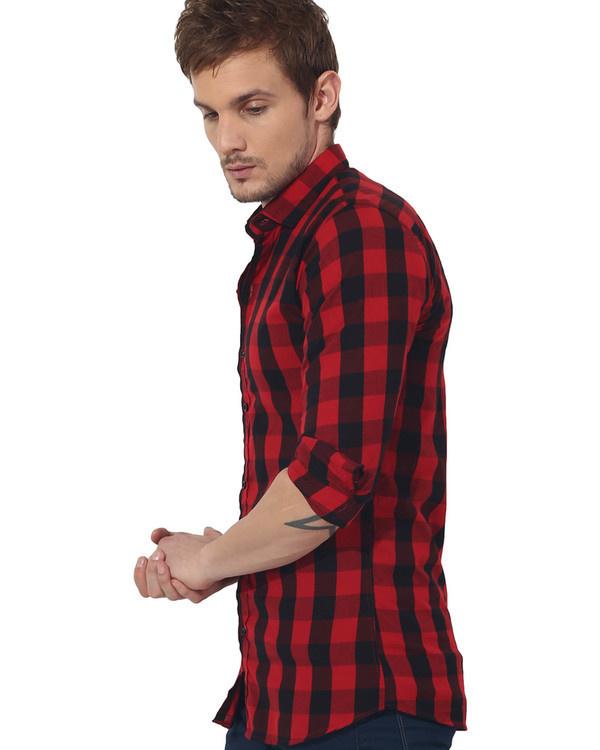 Red & black checks casual shirt 2