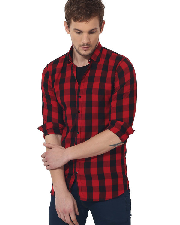 Red & black checks casual shirt 3