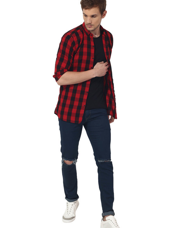 Red & black checks casual shirt 4