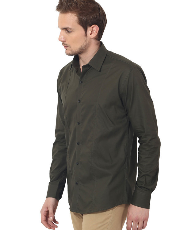 Olive solid club wear shirt 2